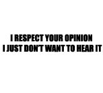I RESPECT YOUR OPINION I JUST DON'T WANT TO HEAR IT DECAL